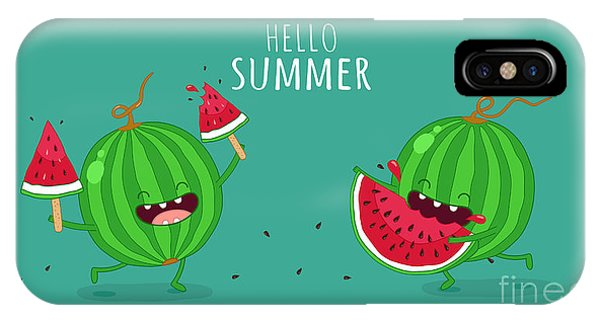 Summer Fruit iPhone Case - Funny Watermelon Eating A Piece Of by Serbinka