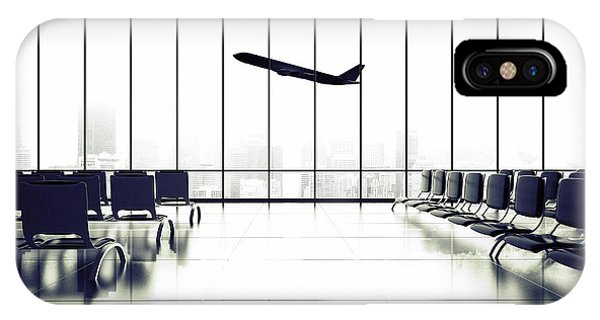 Airplanes iPhone Case - Futuristic Airport And Big Airliner In by Peshkova