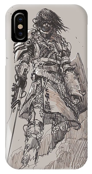 Hero iPhone Case - Futuristic Knight With by Tithi Luadthong