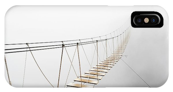 Hiking Path iPhone Case - Fuzzy Man Walking On Hanging Bridge by Svetlana Lukienko