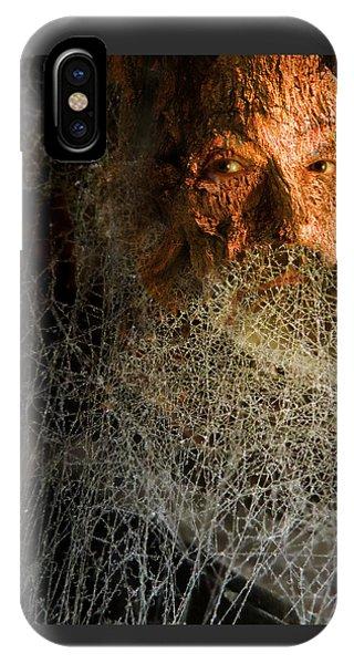 IPhone Case featuring the digital art Gandalf - Cobwebby Self-portrait by Attila Meszlenyi