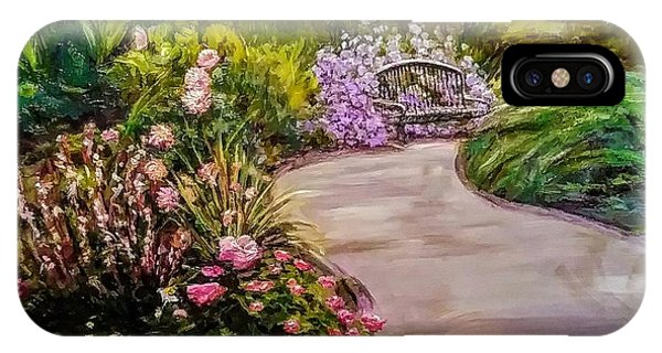 Path To The Garden Bench At Evergreen Arboretum IPhone Case