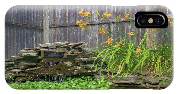 Garden Pond With Orange Day Lilies IPhone Case