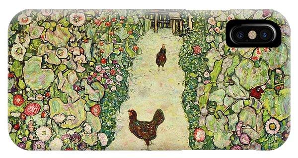 Porch iPhone Case - Garden With Chickens, 1916 by Gustav Klimt