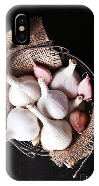 Eating iPhone Case - Garlic In Basket On Black Wooden by Africa Studio