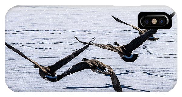 Geese Over Frozen Kitring Pond IPhone Case