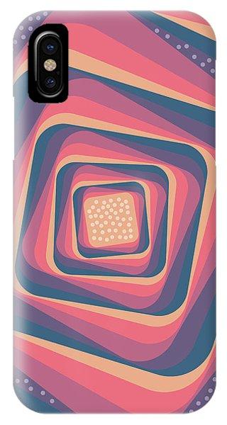 Violet iPhone Case - Geometric Abstract Pattern - Retro Pattern - Spiral 2 - Deep Blue, Purple, Magenta, Red by Studio Grafiikka