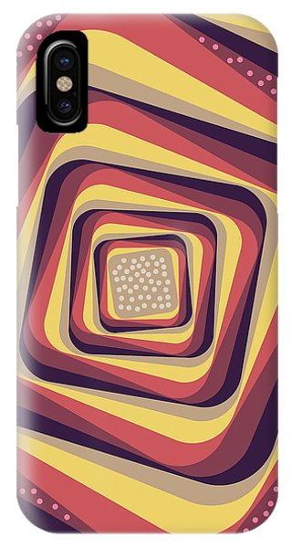 Violet iPhone Case - Geometric Abstract Pattern - Retro Pattern - Spiral 4 - Violet, Magenta, Yellow, Beige by Studio Grafiikka