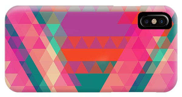 Futuristic iPhone Case - Geometric Colorful Abstract Background by Olha Kostiuk