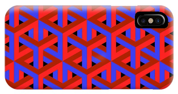 Illusion iPhone Case - Geometric Optical Art Background In Red by Jkerrigan