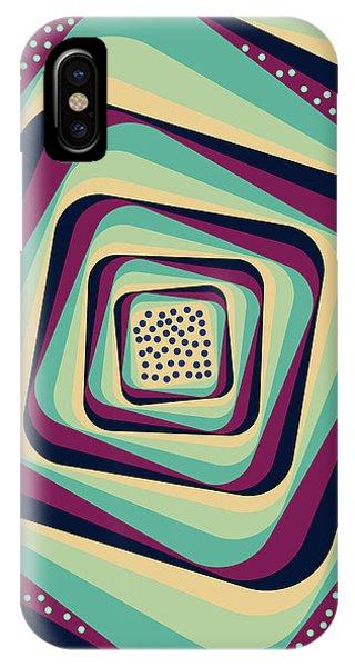 Violet iPhone Case - Geometric Abstract Pattern - Retro Pattern - Spiral 1 - Blue, Violet, Wheat, Beige by Studio Grafiikka