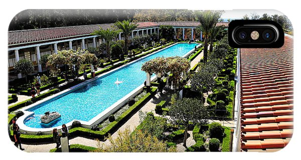 J Paul Getty iPhone Case - Getty Pano Courtyard Museum Villa Malibu Santa Monica  by Chuck Kuhn