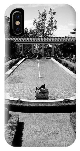 J Paul Getty iPhone Case - Getty Villa Massive Pool Black White Landscape  by Chuck Kuhn
