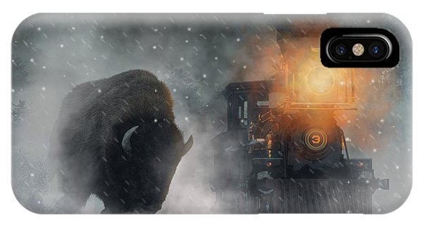 IPhone Case featuring the digital art Giant Buffalo Attacking Train by Daniel Eskridge
