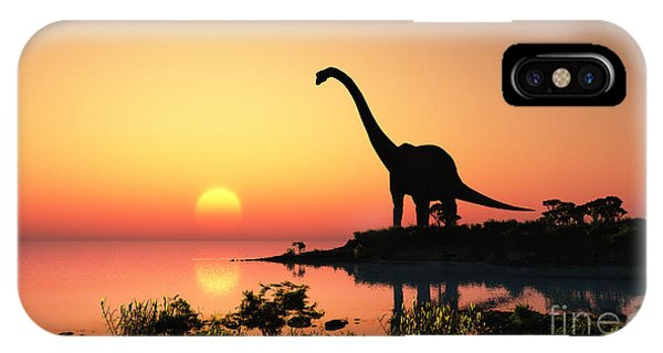 Small iPhone Case - Giant Dinosaur In The Background Of The by Iurii