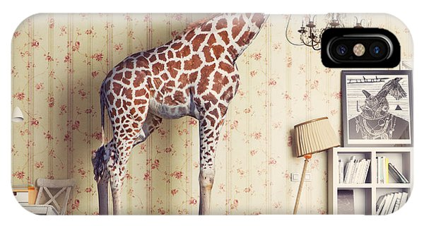 Young iPhone Case - Giraffe Breaks The Ceiling In The by Zastolskiy Victor