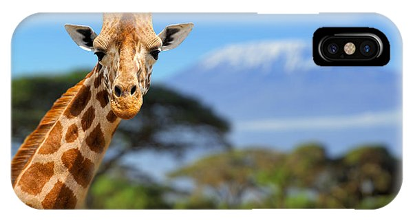 Eating iPhone Case - Giraffe In Front Of Kilimanjaro by Volodymyr Burdiak