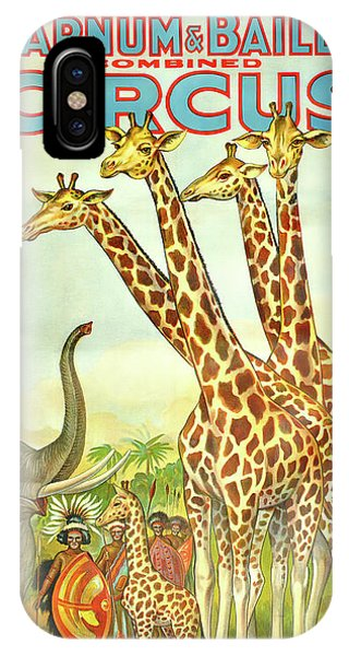 Barnum And Bailey iPhone Case - Giraffe Vintage Circus Poster C. 1920 by Daniel Hagerman
