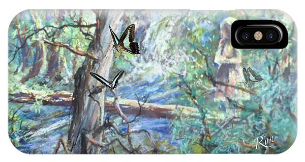Far North Queensland iPhone Case - Girl And Butterflies Far North Queensland Rainforest by Ryn Shell