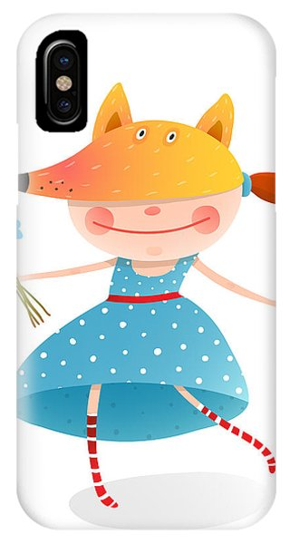 Small iPhone Case - Girl In A Mask Fox With Bouquet Of by Popmarleo