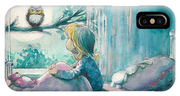Bed iPhone Case - Girl In Her Bed Looking At Owl On A by Deepgreen