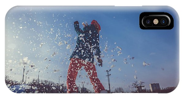 Students iPhone Case - Girl Learning To Ride A Snowboard by Liukov