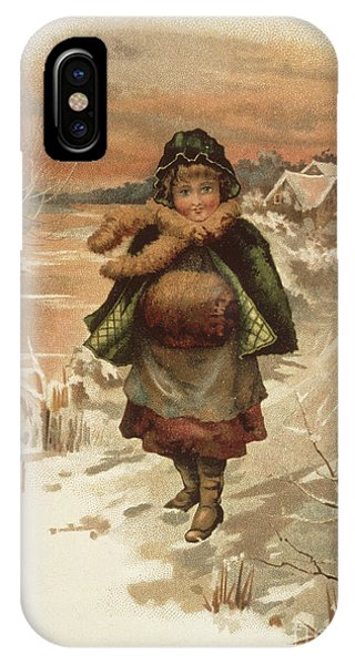Snowy Road iPhone Case - Girl On A Snowy Road by Edith S Berkeley