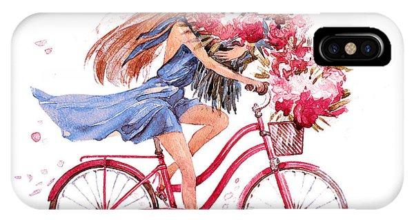 Love iPhone Case - Girl On Bike.  Bicycle. Bike. Peony by Julandersen