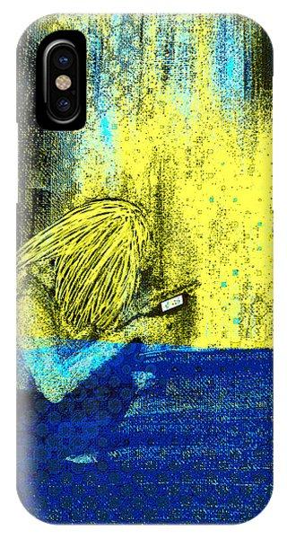 IPhone Case featuring the digital art Girl On Phone Pop Art by Joy McKenzie - Abbie Shores
