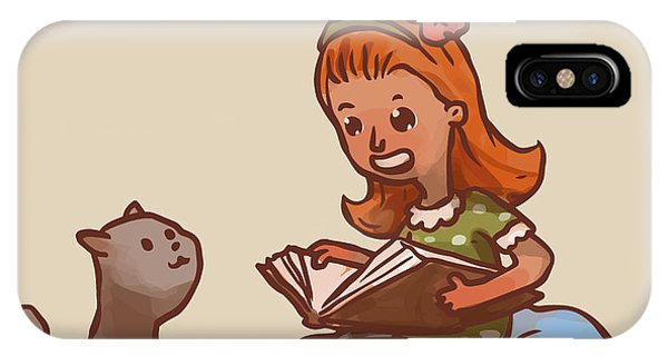 Reading iPhone Case - Girl Reads Book To Cat, Vector by Ivan nikulin