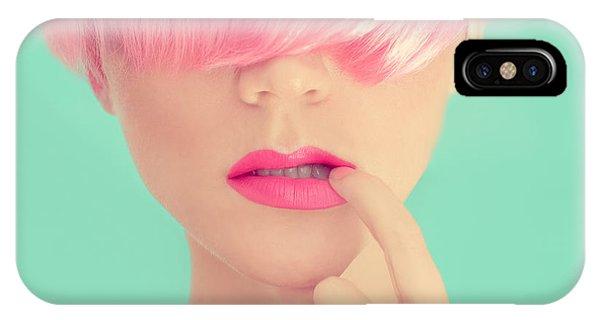 Adult iPhone Case - Girl With Pink Hair. Fashionable Trend by Evgeniya Porechenskaya