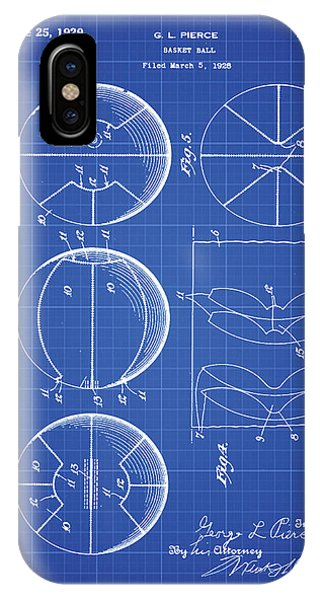 iPhone Case - Gl Pierce Basketball Patent 1929 In Blue Print by Bill Cannon