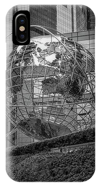 iPhone Case - Globe Sculpture At Columbus Circle Bw by Susan Candelario