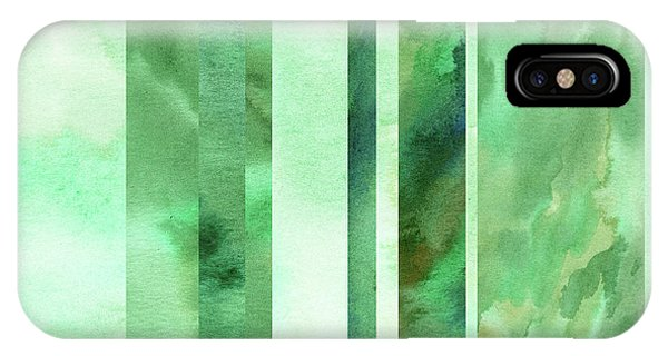 Organic Abstraction iPhone Case - Glowing Green Lines Abstract Watercolor Decor  by Irina Sztukowski