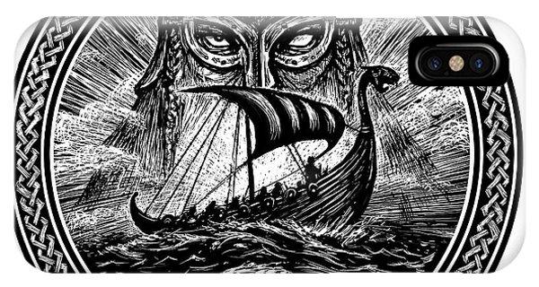 Mythology iPhone Case - God Odin Storm Sea And Drakkar by Barandash Karandashich
