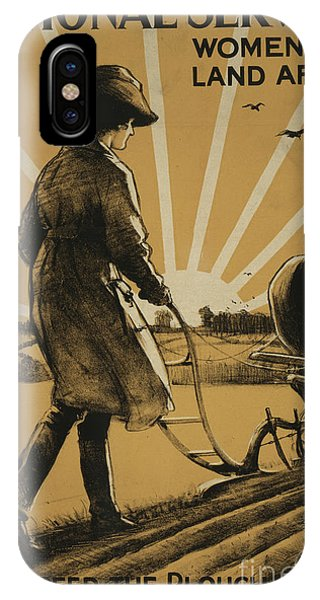 Plowing iPhone Case - God Speed The Plough And The Woman Who Drives It by Henry George Gawthorn