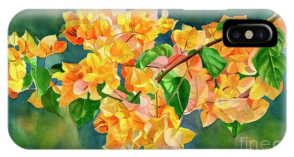 Bougainvillea iPhone Case - Gold Colored Bougainvilles With Background by Sharon Freeman