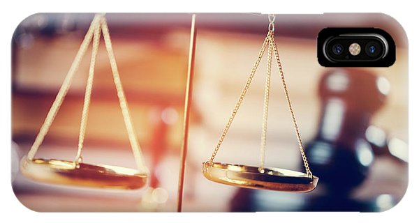 Fairness iPhone Case - Gold Measuring Scales In The Courtroom by Michal Bednarek
