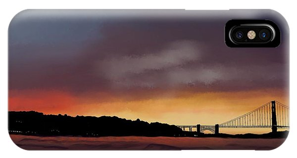 IPhone Case featuring the painting Golden Gate Sunset by Becky Herrera