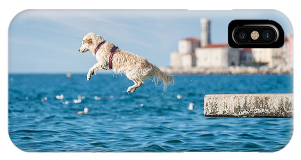 Golden Retriever Dog Jumping Into Sea Phone Case by Sonsart