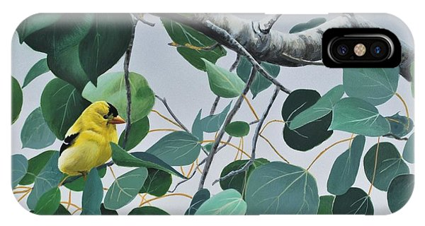 IPhone Case featuring the painting Goldfinch And Aspen by Peter Mathios