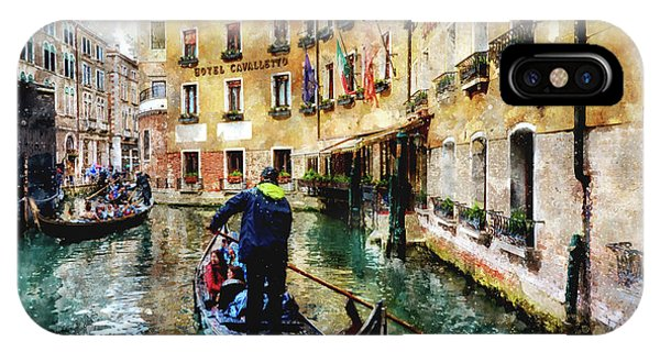 Gondola Traffic Near Piazza San Marco In Venice, Italy - Watercolor Effect IPhone Case