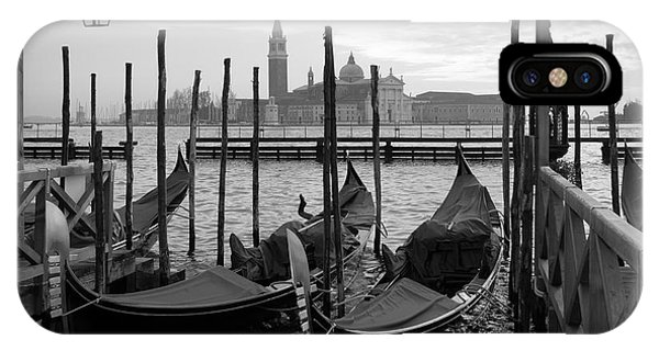 Culture iPhone Case - Gondolas In Venice, Black And White by Vesilvio