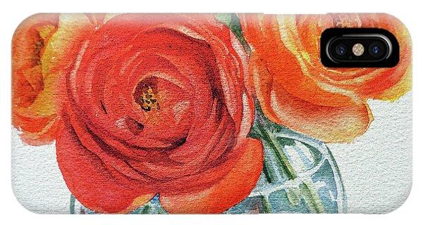 Hyper Realism iPhone Case - Gorgeous Ranunculus Watercolor Bouquet by Irina Sztukowski
