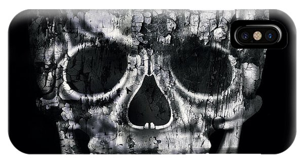Gloomy iPhone Case - Gothic Image Of A Human Skull In Black by Valentina Photos