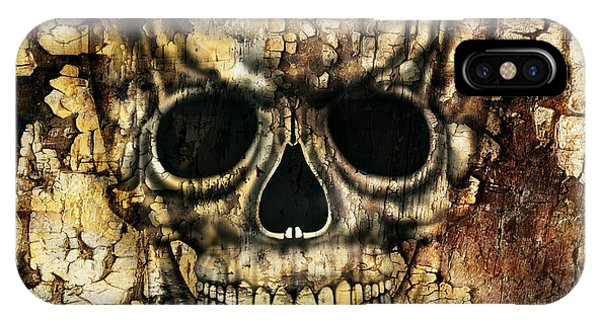 Gloomy iPhone Case - Gothic Image Of A Human Skull by Valentina Photos