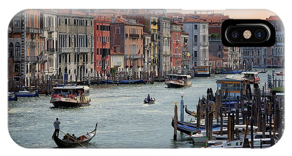 IPhone Case featuring the photograph Grand Canal Gondolier Venice Italy Sunset by Nathan Bush