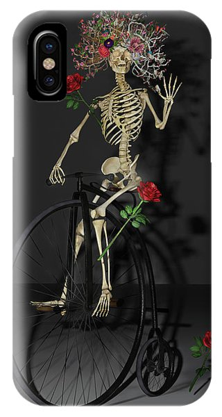 Human Interest iPhone Case - Grateful Penny Farthing Skeleton by Betsy Knapp