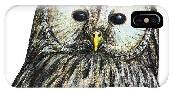 Mottled iPhone Case - Gray Owl Portrait Drawing by Viktoriya art