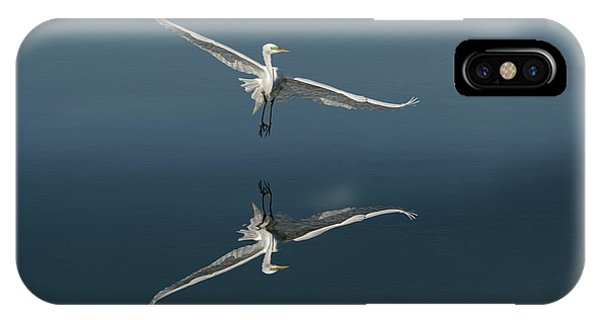 Great Egret Flying With Reflection Phone Case by Adam Jones